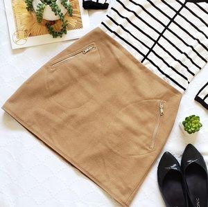 Gap Wool Zipper Mini Camel Skirt